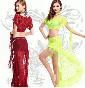 Neon green hot pink fuchsia coral violet wine red black  lace white orange sexy professional competition performance women's ladies female belly dance dresses set outfits