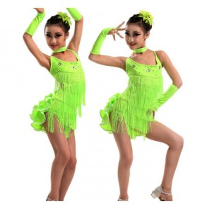 Neon green hot pink fuchsia turquoise blue yellow backless girls kids children performance modern dance latin dance dresses