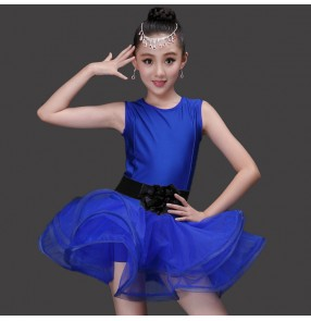 Neon green royal blue fuchsia hot pink red spandex microfiber sleeveless with sashes girls kids children stage performance competition latin ballroom salsa dance dresses ruffles skirts outfits costumes