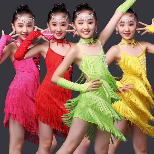 Neon green yellow red fuchsia hot pink sequins fringes backless tassels girls  kids children stage performance school play salsa cha cha latin dance  dresses ... a6864eae33da