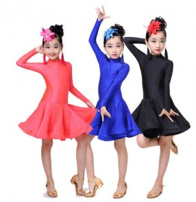 Neon Royal blue coral colored long sleeves turtle neck spandex girls kids children performance competition latin salsa dance dresses outfits