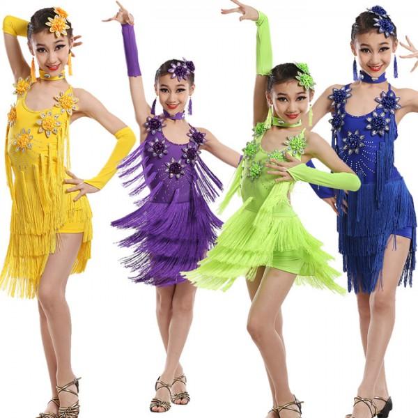 b50eb11fd8939 Non green royal blue violet purple fringes girls kids children school play competition  rhinestones backless performance latin salsa cha cha dance dresses