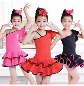ffe928e2f One Shoulder hot pink fuchsia red black short sleeves girls kids children  gymnastics school play spandex