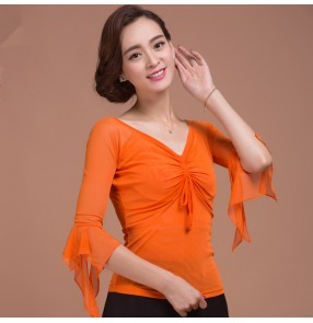 Orange colored middle long sleeves v neck competition performance women's ladies female  professional latin ballroom tango waltz dancing tops blouse