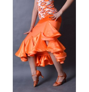 Orange colored women's ladies competition professional ruffles irregular hem latin salsa cha cha dance skirts