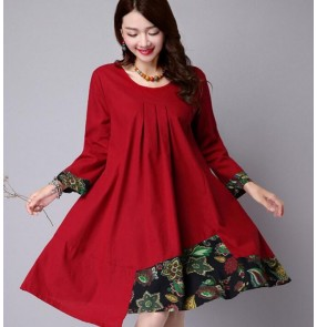 Orange red navy blue irregular  hem floral vintage fashion  linen cotton women's ladies female spring Autumn winter patchwork round neck loose long length dresses tops vestidos