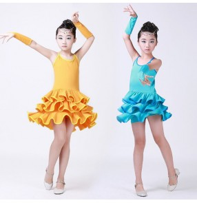 Orange turquoise sky blue sleeveless backless girls kids children performance competition gymnastics school play dance dresses costumes outfits