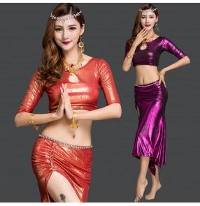 Orange wine red royal blue purple colored women's ladies female diamond chain competition performance sexy fashionable belly dance dresses costumes outfits
