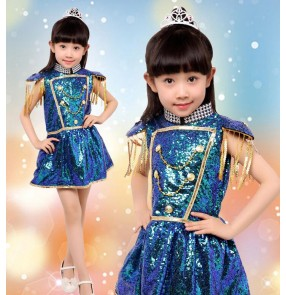 Peacock green sequined paillette girls kids child children school play stage performance modern dance jazz dance hip hop dance outfits dresses costumes