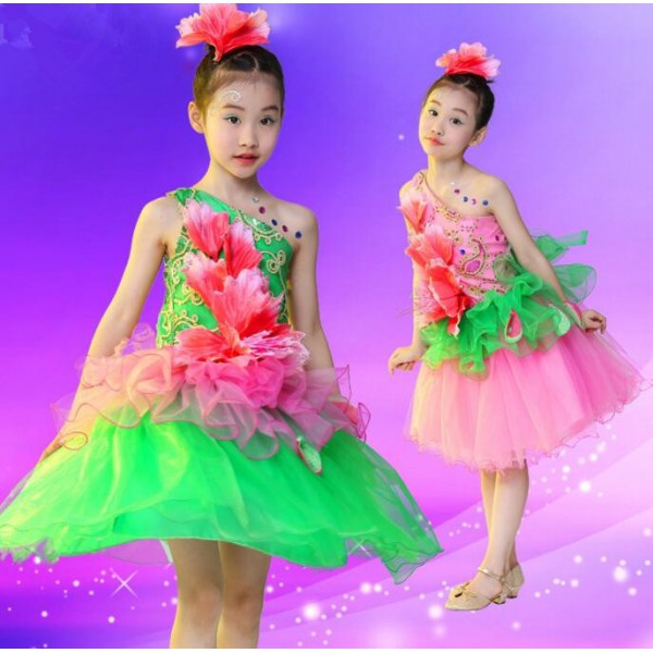 Pink fuchsia green patchwork one shoulder flowers girls children pink fuchsia green patchwork one shoulder flowers girls children kids modern dance performance school play jazz dance outfits dresses mightylinksfo