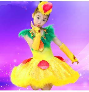 Pink yellow gold feather girls kids child children toddlers growth school play cos play peacock performance modern dance jazz dance dresses outfits
