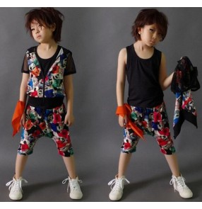 Printed boys child children toddlers baby kids stage performance modern jazz hip hop dance  school play t show costumes outfits