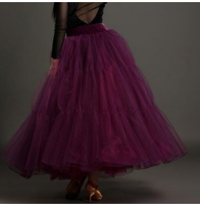 Purple black red big swing organza women's ladies female competition  standard professional performance ballroom tango waltz dance skirts