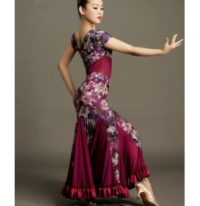 Purple floral green  printed  one shoulder sexy women's ladies female competition performance latin ballroom dance dresses sets