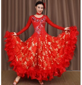 Purple green red fuchsia hot pink yellow white violet light pink long sleeves embroidery pattern women's ladies female competition professional ballroom tango waltz dancing dance dresses outfits