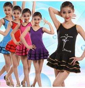 Purple violet black red turquoise blue fuchsia hot pink spandex V double shoulder tank sleeveless girls kids children baby performance competition gymnastics latin salsa cha cha dance leotards one piece dresses outfits
