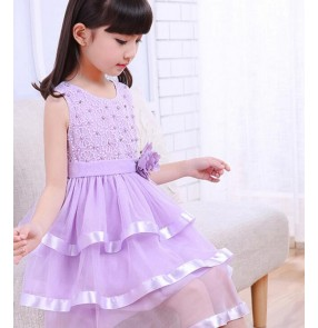 Purple violet fuchsia hot pink white light pink flower girls princess kids children performance modern dance outfits dresses costumes