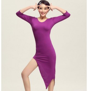 Purple violet green royal blue black red round neck irregular hem women's ladies professional middle long sleeves latin salsa cha cha dance dresses