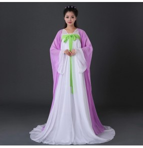 Purple violet green yellow light pink patchwork women's ladies female stage performance cos play long length princess Chinese folk style dynasty fairy ancient traditional hanfu dresses outfit clothes robe