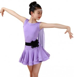 Purple violet royal blue fuchsia hot pink black sleeveless with sashes girls kids children performance competition latin dance dresses