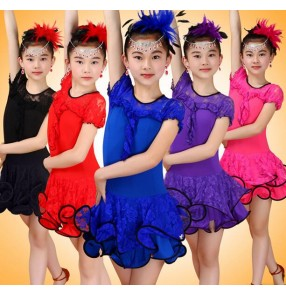 Purple violet royal blue fuchsia hot pink red black Lace short sleeves round neck girls kids children competition performance latin salsa dance dresses