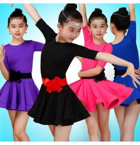 Purple violet royal blue fuchsia hot pink short sleeves girls kids child children performance competition latin salsa cha cha dance dresses