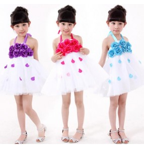 Purple violet turquoise blue red hot pink rose flowers girls kids children performance school play flower girls jazz dance costumes outfits dresses