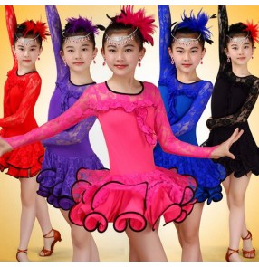 Purple violet turquoise royal blue black red hot pink  lace gymnastics patchwork long sleeves girls kids children performance latin ballroom dance dresses