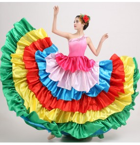 Rainbow colored one shoulder fuchsia gradient big ruffles skirted flamenco competition performance Women's girls  Spanish folk dance dresses outfits for ladies