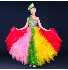 Rainbow colored one shoulder sequins rhinestones women's ladies spanish folk flamenco performance modern dance singer dance dresses costumes