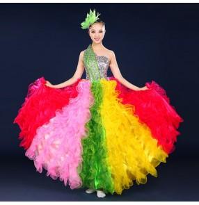 9e3ea6d62470 Rainbow colored one shoulder sequins rhinestones women's ladies spanish  folk flamenco performance modern dance singer dance