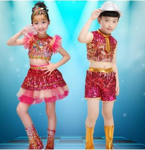 Rainbow colored sequins boys girls kids children paillette performance jazz dance modern hip hop dance school play outfits costumes
