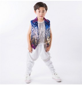 Rainbow colored sequins waistcoat vest rhinestones pants boys kids children stage performance jazz hip hop dance costumes outfits