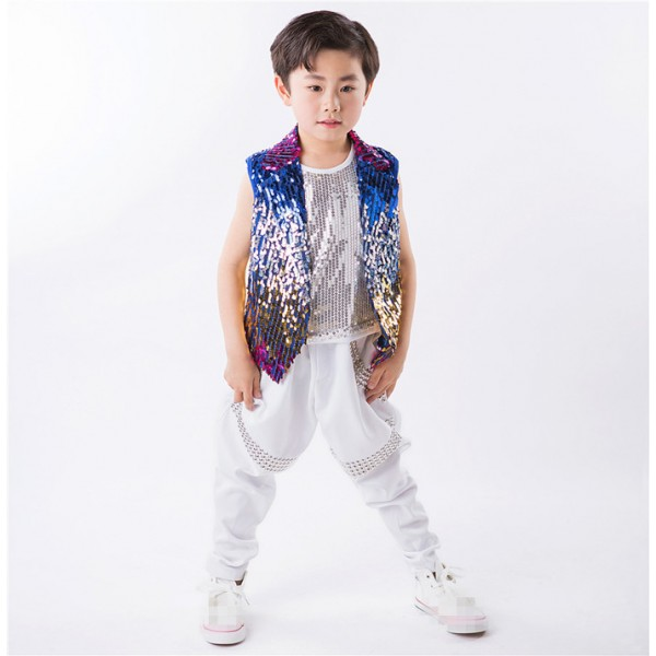 3df607caa624 Rainbow colored sequins waistcoat vest rhinestones pants boys kids ...