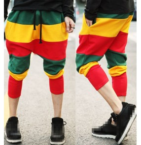 Rainbow colored striped adult women's female stage performance street dance hip hop jazz singer dj calf length harem pants