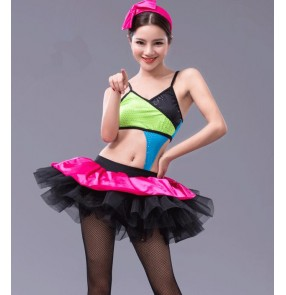Rainbow printed patchwork women's ladies female adult modern dance performance competition ballet tutu dance dresses outfits