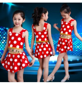 Red and white polka dot printed modern dance toddlers girls kids child school play show modern dance stage performance t show jazz dance outfits costumes