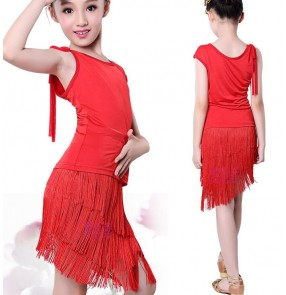 Red black and patchwork spandex fringes tassels girls kids children baby school play stage performance samba latin ballroom salsa cha cha dance dresses outfits costumes
