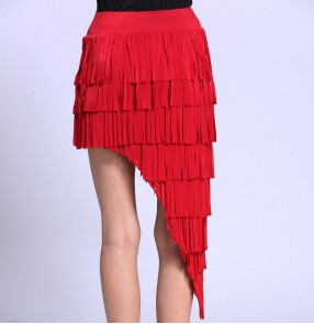 Red black fringes one size irregular hem sexy fashion women's girls competition performance latin ballroom salsa cha cha dance skirts