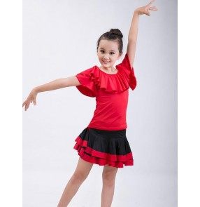 Red black patchwork girls kids children competition spandex performance school play school play latin salsa cha cha dance dresses outfits
