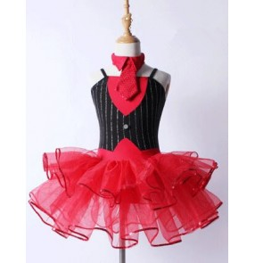 Red black patchwork striped sleeveless girls kids children competition professional performance modern ballet tutu dance leotard dresses outfits