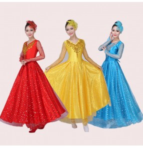 Red blue yellow long see through sequins sleeves women's ladies female stage performance Spanish folk dance flamenco dresses outfits 720 degree