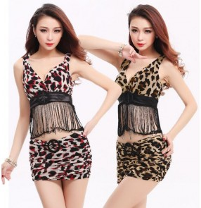 Red brown leopard sexy fringes strap women's ladies female fashion club wear jazz dance stage performance outfits costumes