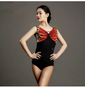 Red brown tiger  printed patchwork v neck backless women's ladies female competition professional performance leotard latin ballroom dance tops catsuits bodysuits