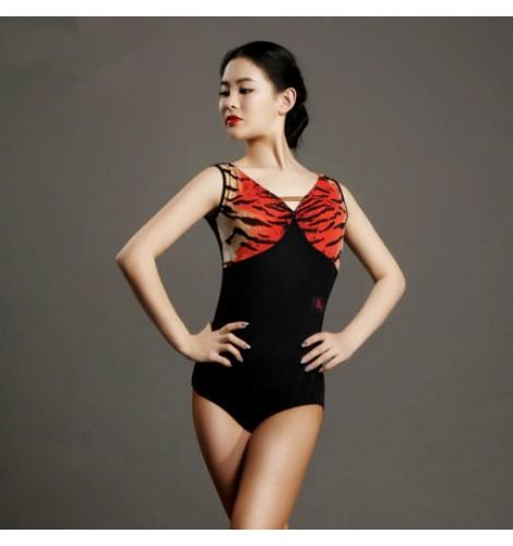 69ddf6701534 Red brown tiger printed patchwork v neck backless women s ladies ...