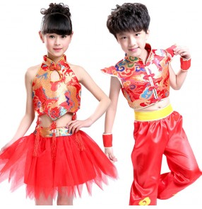 Red chinese folk style girls boys children kids baby stage performance cos play school play  kung fu uniforms clothes outfits costumes