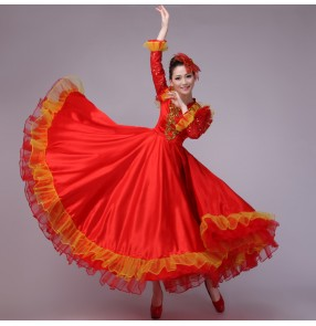Red flamenco women's ladies female long sequins sleeves v neck opening chorus performance spanish dancing bull dance dresses outfits