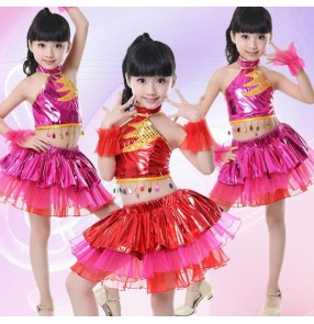 Red fuchsia pu leather paillette girl kids child children school t show play jazz modern dance hip hop dance stage performance costumes dresses