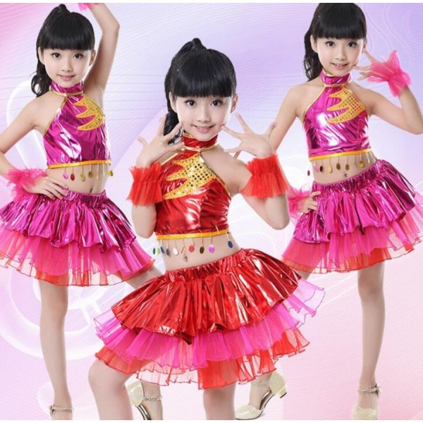 6cc99e521d7e Red fuchsia pu leather paillette girl kids child children school t show ...