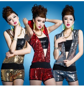 Red gold gray silver black sequins v neck zipper open front elastic waist women's girls stage  performance bar club punk rock show play jazz hip hop singer dj ds hot dance costumes outfits bodysuits catsuits